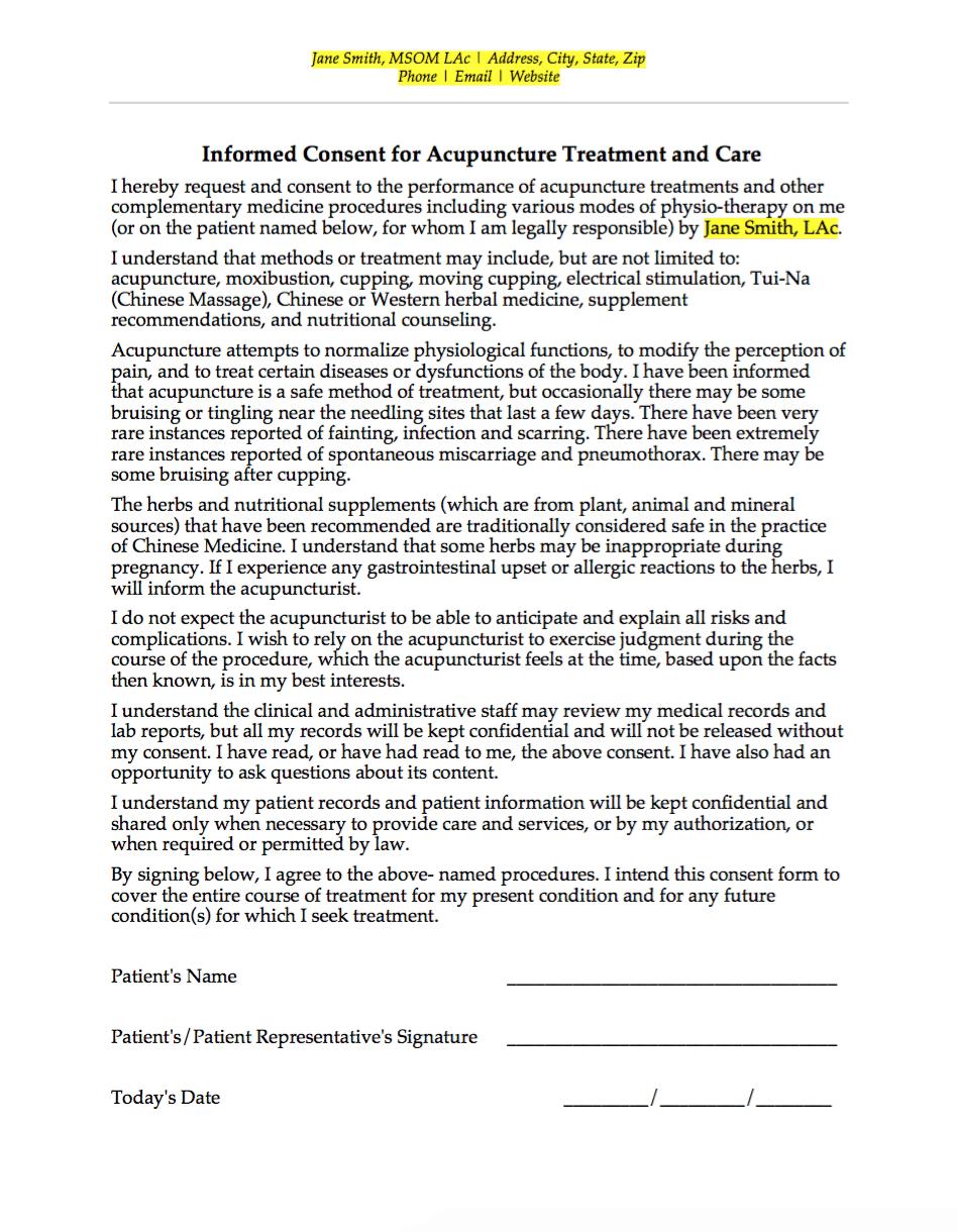 Informed Consent Insurance Verification Form Superbill